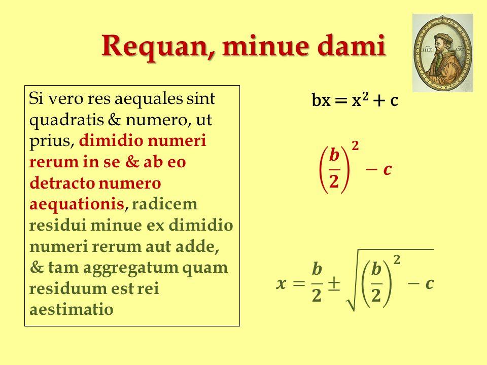 Requan, minue dami Si vero res aequales sint quadratis & numero, ut prius, dimidio numeri rerum in se & ab eo detracto numero aequationis, radicem res