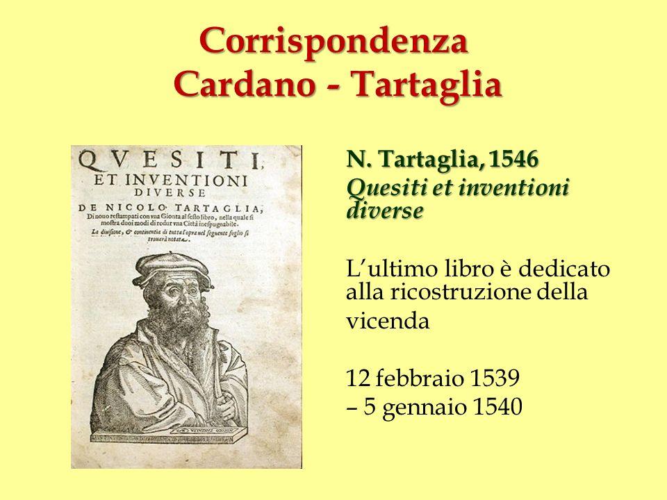 Corrispondenza Cardano - Tartaglia N. Tartaglia, 1546 Quesiti et inventioni diverse Lultimo libro è dedicato alla ricostruzione della vicenda 12 febbr
