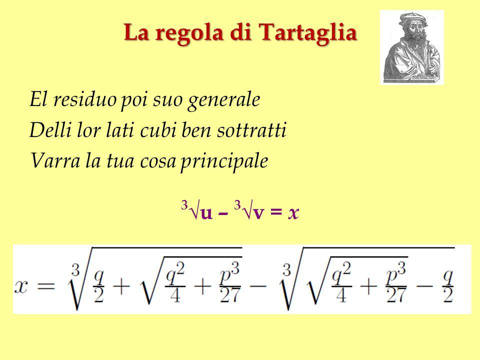 La regola di Tartaglia El residuo poi suo generale Delli lor lati cubi ben sottratti Varra la tua cosa principale 3 u – 3 v = x