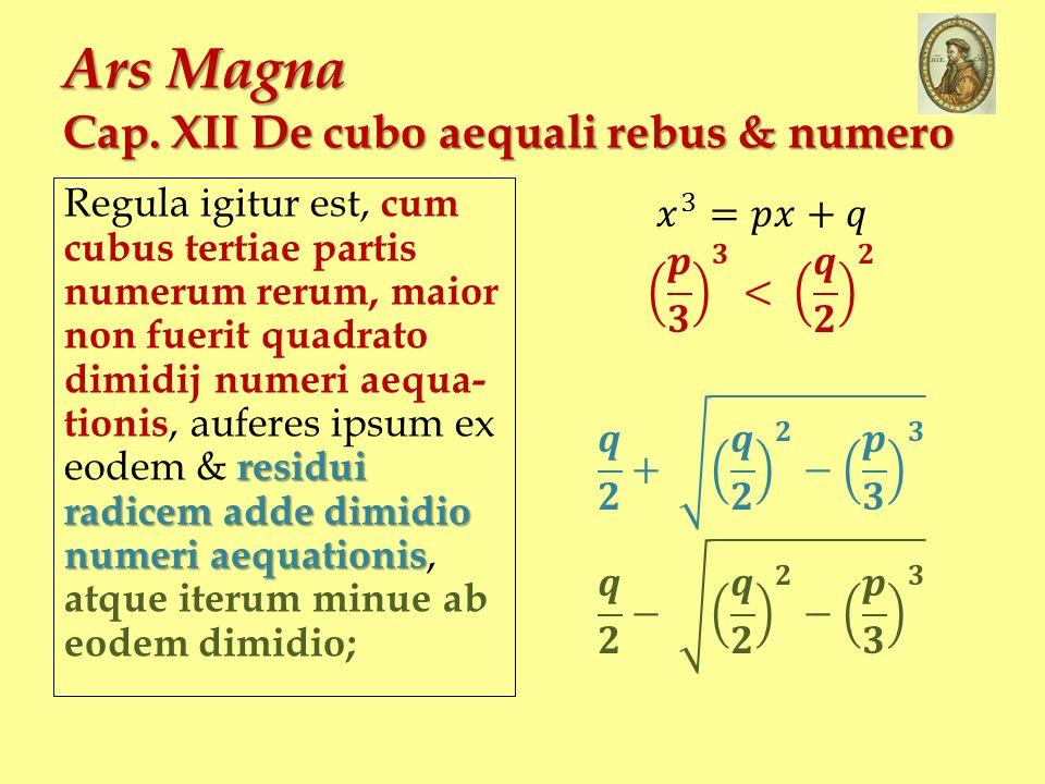 Ars Magna Cap. XII De cubo aequali rebus & numero residui radicem adde dimidio numeri aequationis Regula igitur est, cum cubus tertiae partis numerum
