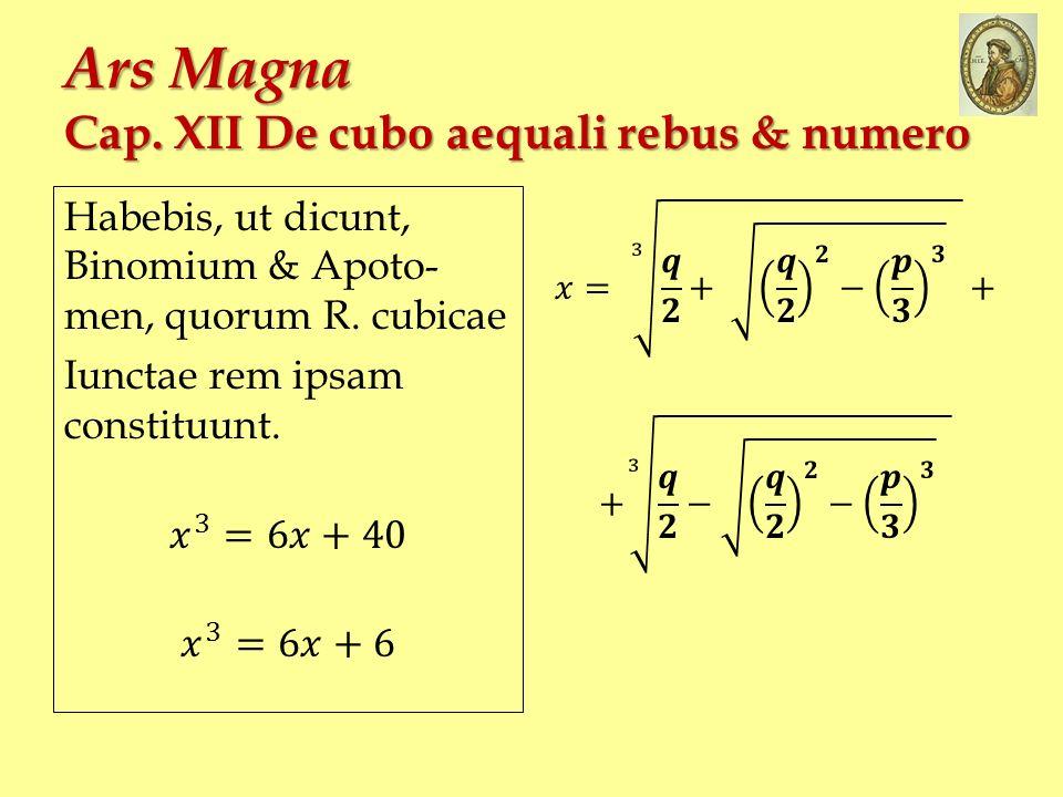 Ars Magna Cap. XII De cubo aequali rebus & numero