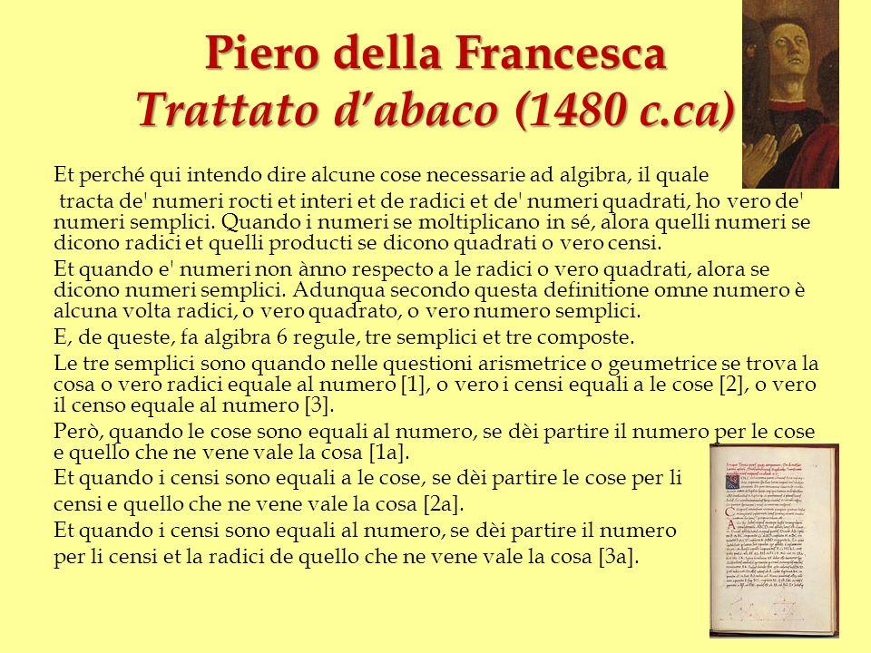 Piero della Francesca Trattato dabaco Et i composti sono quando i censi e le cose sono equali a li numeri [4], et quando i censi e i numeri sono equali a le cose [5], et quando il censo equale a le cose e al numero [6].