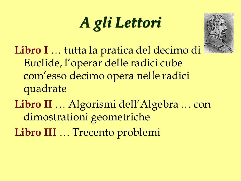 A gli Lettori Libro I … tutta la pratica del decimo di Euclide, loperar delle radici cube comesso decimo opera nelle radici quadrate Libro II … Algori