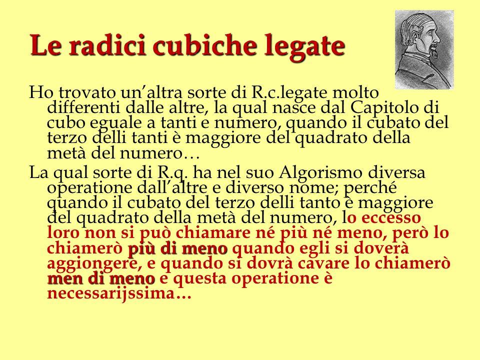 Le radici cubiche legate Ho trovato unaltra sorte di R.c.legate molto differenti dalle altre, la qual nasce dal Capitolo di cubo eguale a tanti e nume