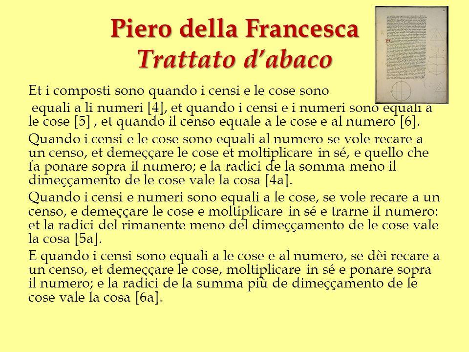 Piero della Francesca Trattato dabaco Et i composti sono quando i censi e le cose sono equali a li numeri [4], et quando i censi e i numeri sono equal