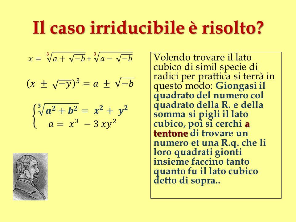 Il caso irriducibile è risolto? a tentone Volendo trovare il lato cubico di simil specie di radici per prattica si terrà in questo modo: Giongasi il q