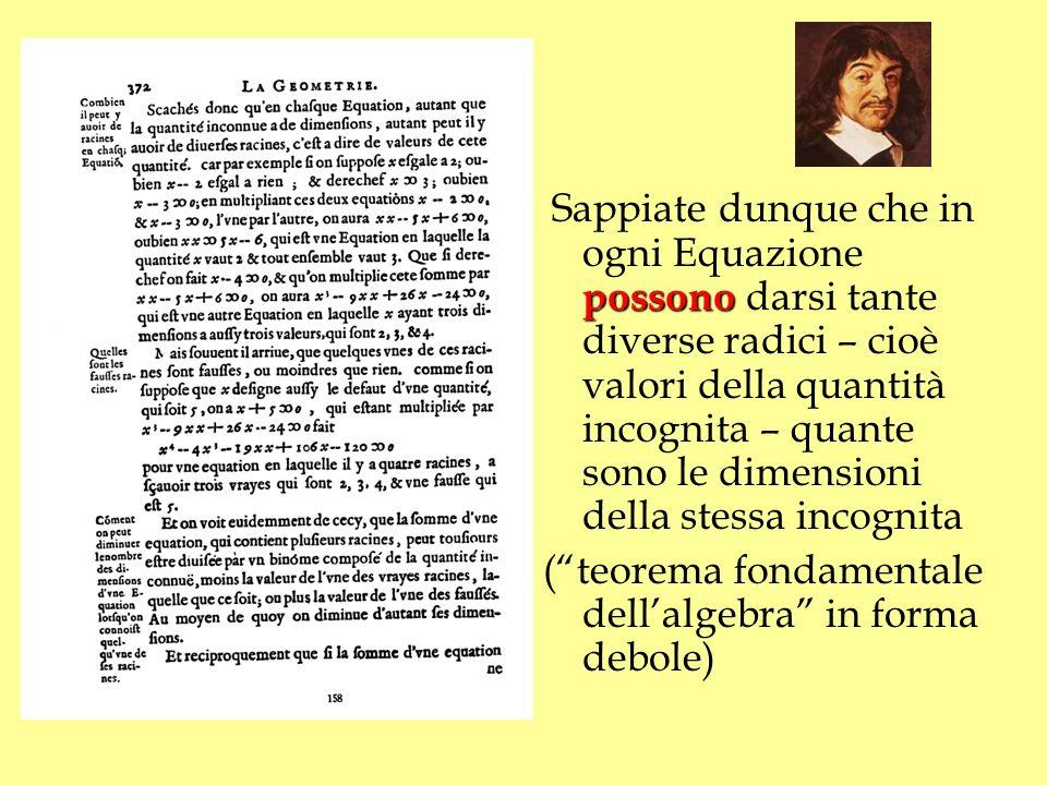 possono Sappiate dunque che in ogni Equazione possono darsi tante diverse radici – cioè valori della quantità incognita – quante sono le dimensioni de
