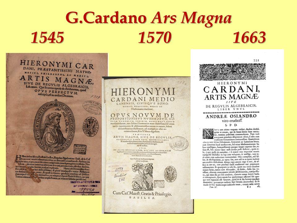 Girolamo Cardano Ars magna (1545) Secundum haec formabimus regulas tres, pro quarum memoria subiungemus carmen hoc Querna, da bis Nuquer, admi Requan, minue dami