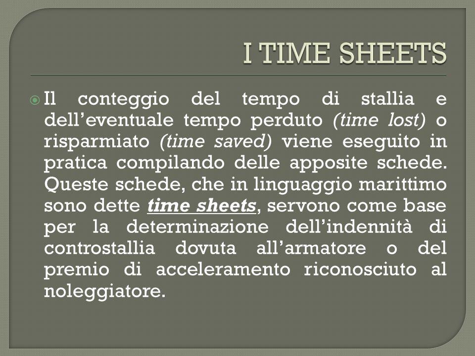 Il conteggio del tempo di stallia e delleventuale tempo perduto (time lost) o risparmiato (time saved) viene eseguito in pratica compilando delle apposite schede.