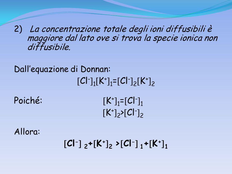 2) La concentrazione totale degli ioni diffusibili è maggiore dal lato ove si trova la specie ionica non diffusibile. Dallequazione di Donnan: Cl - 1