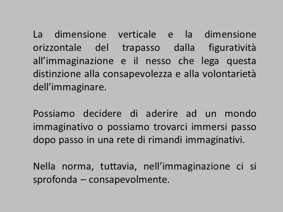 La dimensione verticale e la dimensione orizzontale del trapasso dalla figuratività allimmaginazione e il nesso che lega questa distinzione alla consapevolezza e alla volontarietà dellimmaginare.
