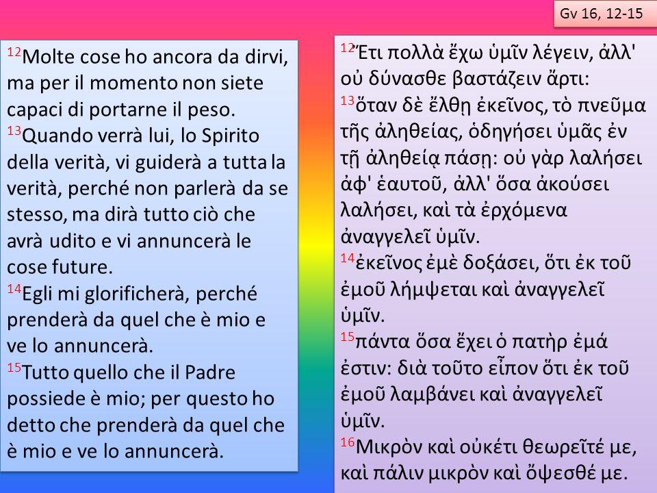 Domenica 1 a Lettura Salmo 2 a Lettura Vangelo Prv 8, 22-31 Sal 8 Rm 5, 1-5 Gv 16, 12-15