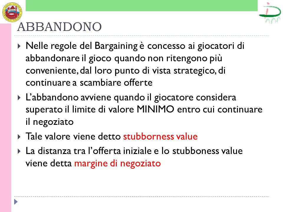 ABBANDONO Nelle regole del Bargaining è concesso ai giocatori di abbandonare il gioco quando non ritengono più conveniente, dal loro punto di vista st