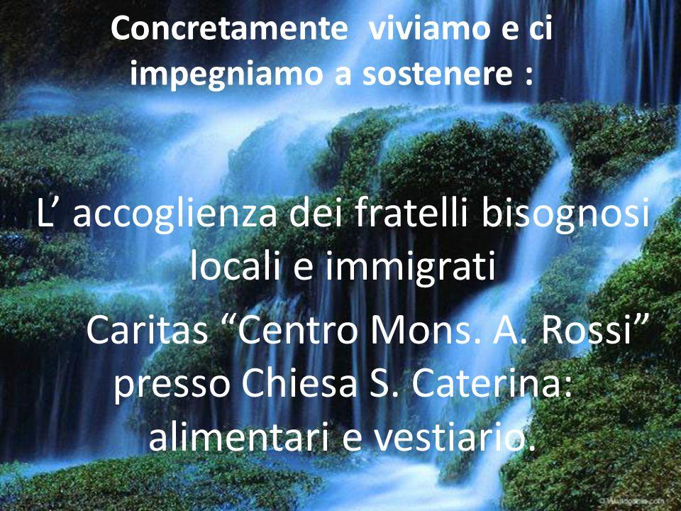 Concretamente viviamo e ci impegniamo a sostenere : L accoglienza dei fratelli bisognosi locali e immigrati Caritas Centro Mons. A. Rossi presso Chies