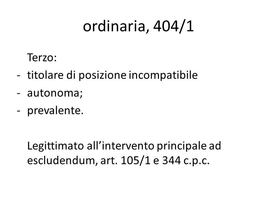 ordinaria, 404/1 Terzo: -titolare di posizione incompatibile -autonoma; -prevalente. Legittimato allintervento principale ad escludendum, art. 105/1 e