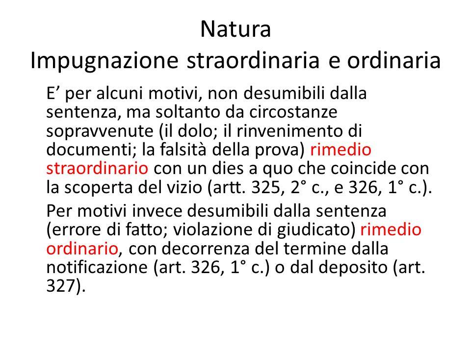 Natura Impugnazione straordinaria e ordinaria E per alcuni motivi, non desumibili dalla sentenza, ma soltanto da circostanze sopravvenute (il dolo; il