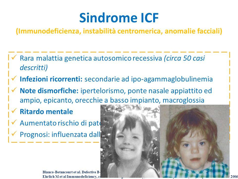 Rara malattia genetica autosomico recessiva (circa 50 casi descritti) Infezioni ricorrenti: secondarie ad ipo-agammaglobulinemia Note dismorfiche: ipe