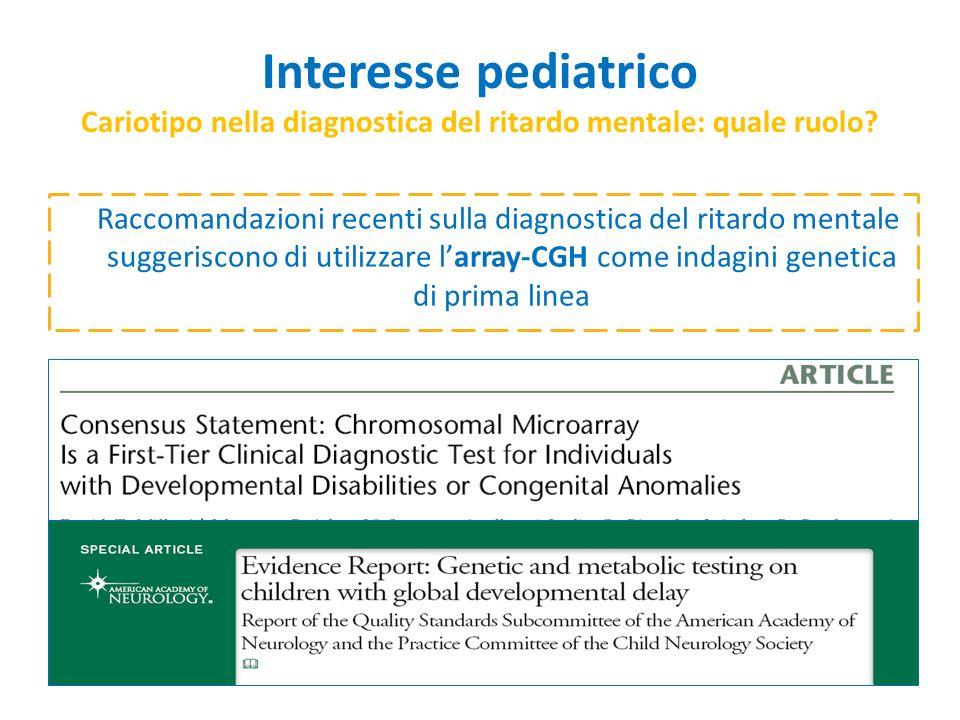 Raccomandazioni recenti sulla diagnostica del ritardo mentale suggeriscono di utilizzare larray-CGH come indagini genetica di prima linea Interesse pe