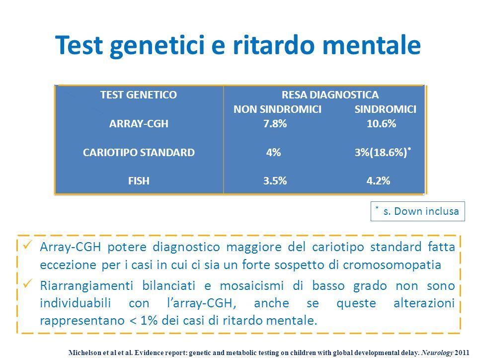 Test genetici e ritardo mentale Michelson et al et al. Evidence report: genetic and metabolic testing on children with global developmental delay. Neu