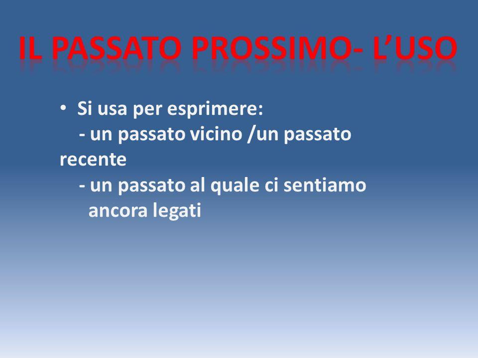 Il presente dellausilliare (avere o essere) + Il participio passato del verbo REGOLARE :-are ato -ere uto -ire ito N.B con essere il verbo deve concordare col nome