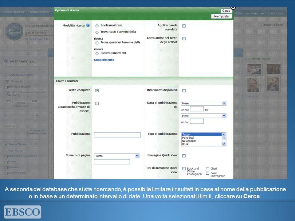 Durante una sessione, è possibile comprimere ed espandere le colonne su entrambi i lati dellelenco dei risultati.