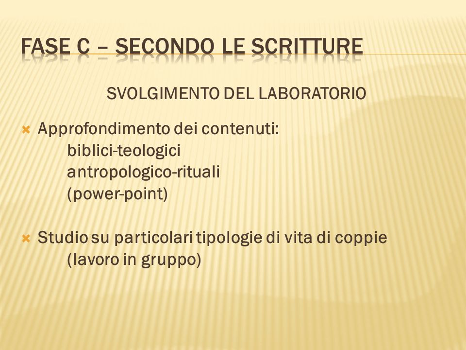 SVOLGIMENTO DEL LABORATORIO Approfondimento dei contenuti: biblici-teologici antropologico-rituali (power-point) Studio su particolari tipologie di vi