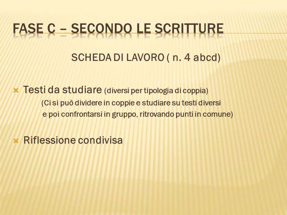 SCHEDA DI LAVORO ( n. 4 abcd) Testi da studiare (diversi per tipologia di coppia) (Ci si può dividere in coppie e studiare su testi diversi e poi conf