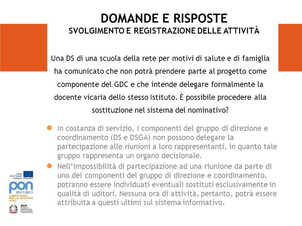 In costanza di servizio, i componenti del gruppo di direzione e coordinamento (DS e DSGA) non possono delegare la partecipazione alle riunioni a loro