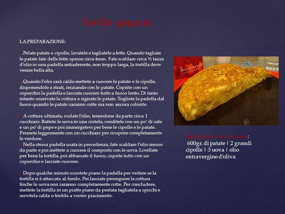 Tortilla spagnola LA PREPARAZIONE: 1.Pelate patate e cipolle, lavatele e tagliatele a fette. Quando tagliate le patate fate delle fette spesse circa 4