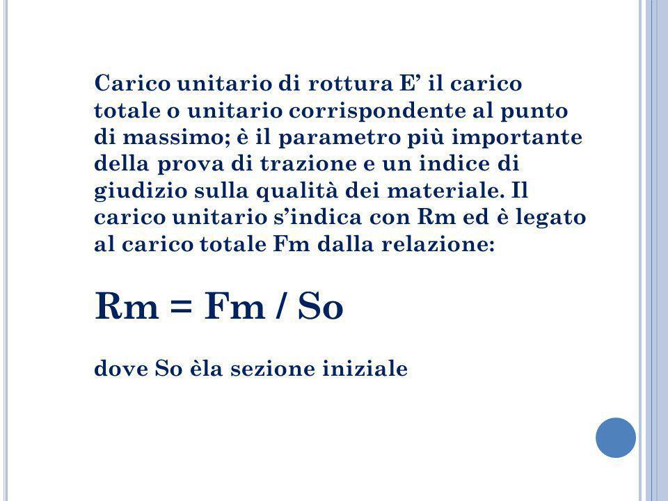 Carico unitario di rottura E il carico totale o unitario corrispondente al punto di massimo; è il parametro più importante della prova di trazione e u