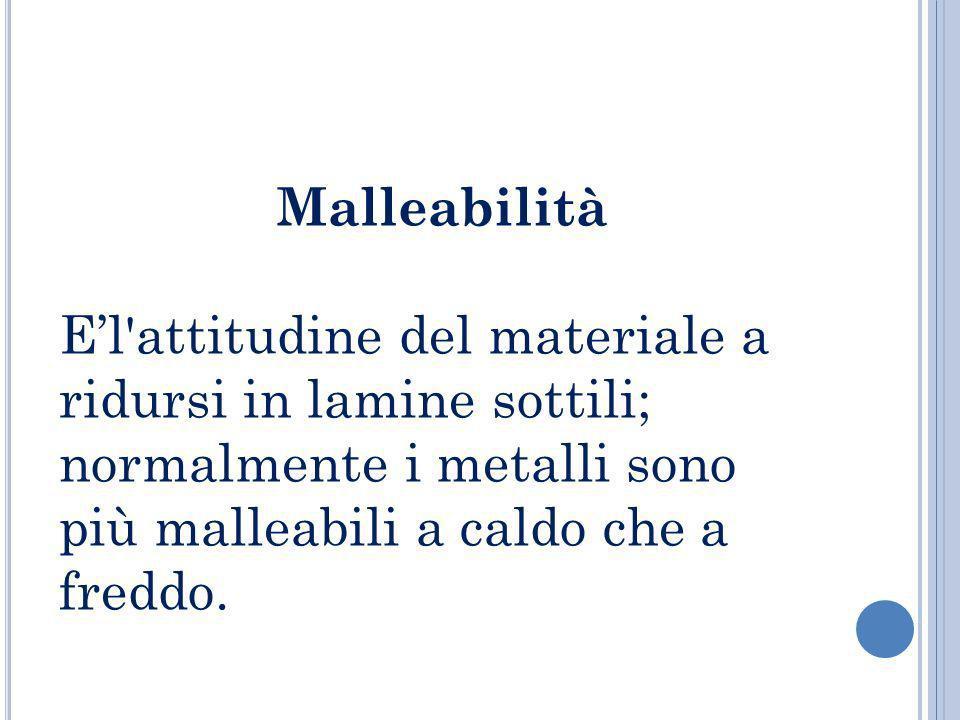 Malleabilità El'attitudine del materiale a ridursi in lamine sottili; normalmente i metalli sono più malleabili a caldo che a freddo.