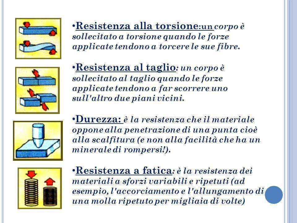 Resistenza alla torsione :un corpo è sollecitato a torsione quando le forze applicate tendono a torcere le sue fibre. Resistenza al taglio : un corpo