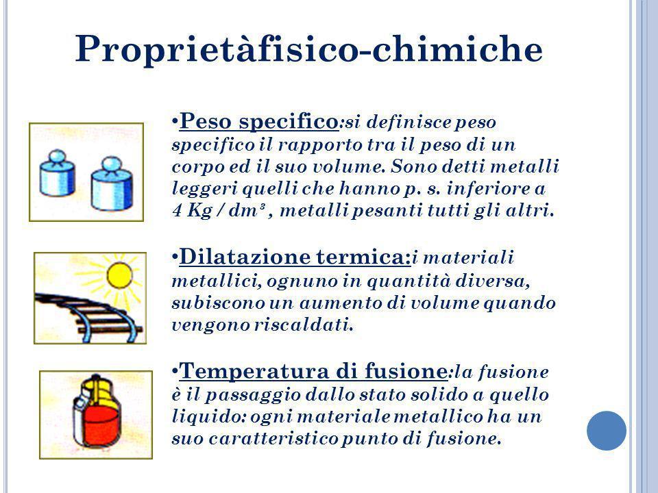 Proprietàfisico-chimiche Peso specifico :si definisce peso specifico il rapporto tra il peso di un corpo ed il suo volume. Sono detti metalli leggeri