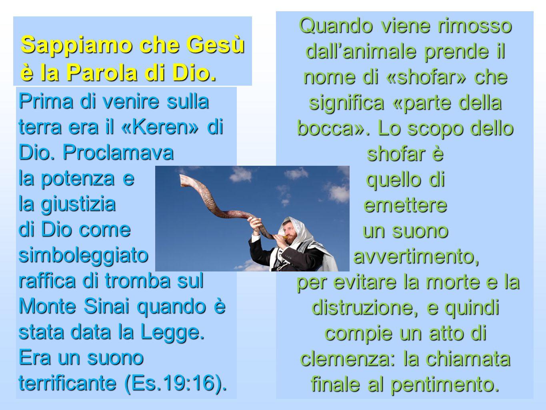 Sappiamo che Gesù è la Parola di Dio. Quando viene rimosso dallanimale prende il nome di «shofar» che significa «parte della bocca». Lo scopo dello sh