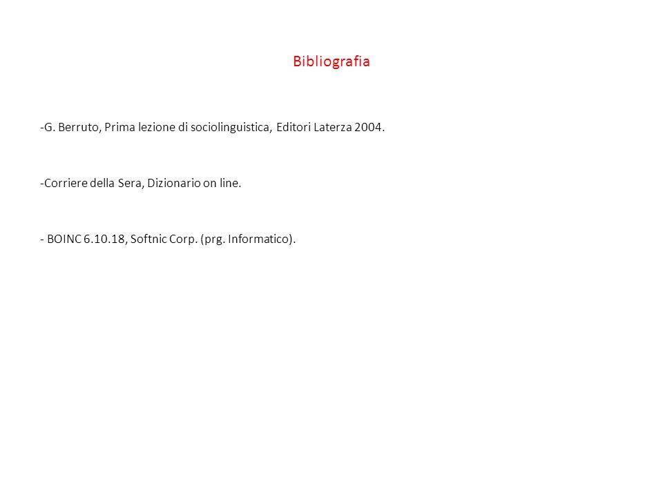 Bibliografia -G.Berruto, Prima lezione di sociolinguistica, Editori Laterza 2004.