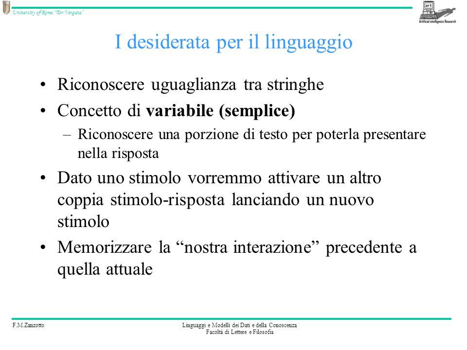 F.M.ZanzottoLinguaggi e Modelli dei Dati e della Conoscenza Facoltà di Lettere e Filosofia University of Rome Tor Vergata Linguaggio: terza ipotesi Ci basta.