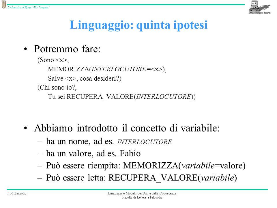 F.M.ZanzottoLinguaggi e Modelli dei Dati e della Conoscenza Facoltà di Lettere e Filosofia University of Rome Tor Vergata Ci basta.