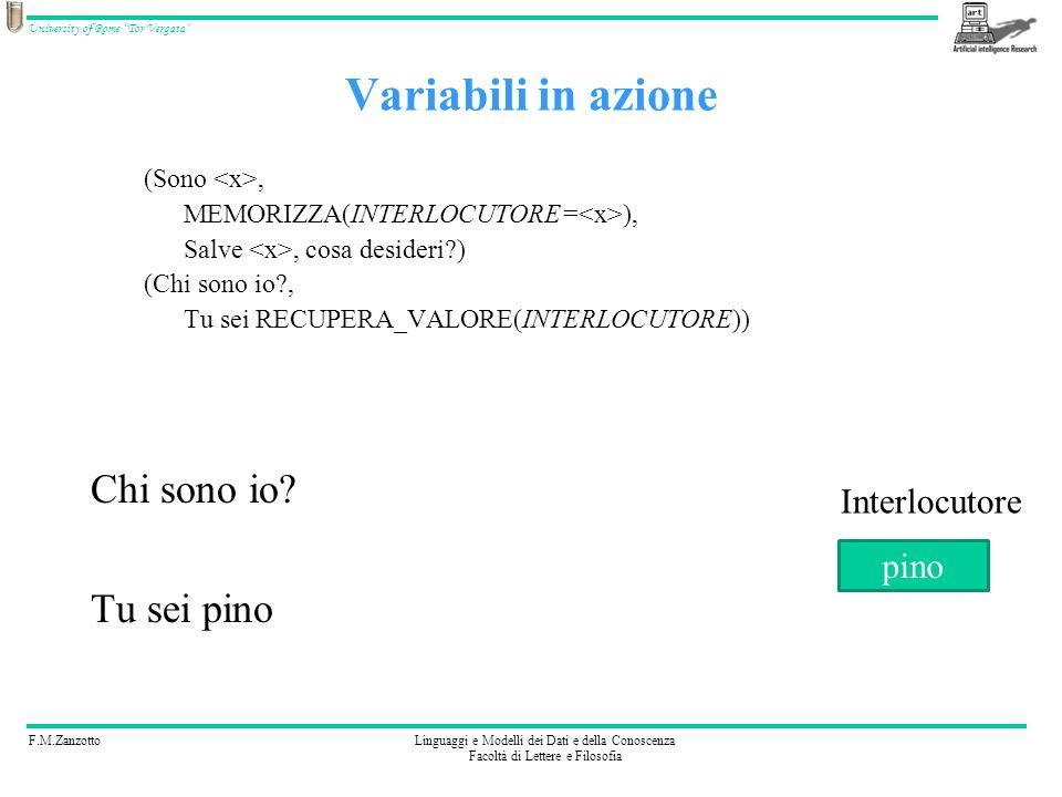 F.M.ZanzottoLinguaggi e Modelli dei Dati e della Conoscenza Facoltà di Lettere e Filosofia University of Rome Tor Vergata Linguaggio: quinta ipotesi Potremmo fare: (Sono, MEMORIZZA(INTERLOCUTORE= ), Salve, cosa desideri?) (Chi sono io?, Tu sei RECUPERA_VALORE(INTERLOCUTORE)) Abbiamo introdotto il concetto di variabile: –ha un nome, ad es.