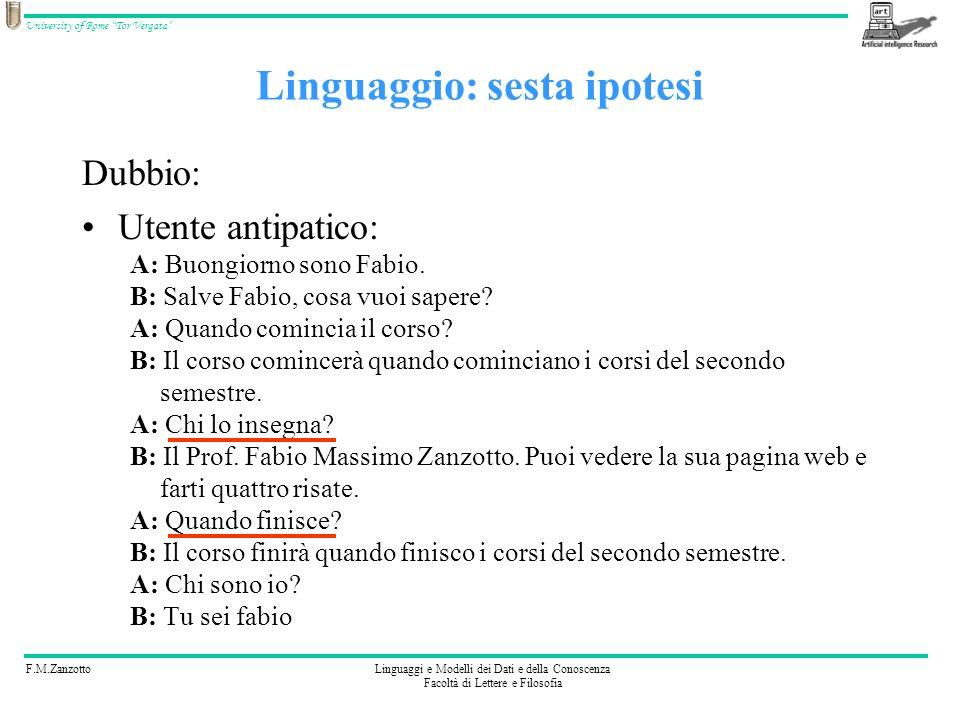 F.M.ZanzottoLinguaggi e Modelli dei Dati e della Conoscenza Facoltà di Lettere e Filosofia University of Rome Tor Vergata Interessante aspetto del sesto linguaggio Possiamo scrivere: ( il corso?, MEMORIZZA(ARGOMENTO=CORSO), RISTIMOLA( )) SE_SIAMO_IN_ARGOMENTO=CORSO { (Quando inizia?, Il corso inizia quando iniziano i corsi del secondo semestre.