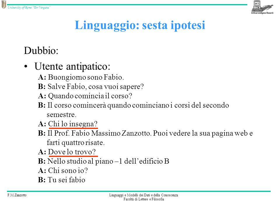 F.M.ZanzottoLinguaggi e Modelli dei Dati e della Conoscenza Facoltà di Lettere e Filosofia University of Rome Tor Vergata Dubbio: Utente antipatico: A: Buongiorno sono Fabio.