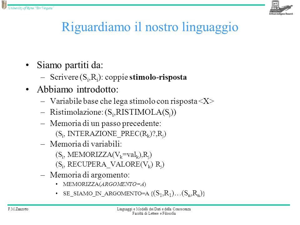 F.M.ZanzottoLinguaggi e Modelli dei Dati e della Conoscenza Facoltà di Lettere e Filosofia University of Rome Tor Vergata Piccolissimo richiamo ML OSSERVAZIONE: –Avendo la possibilità di definire i tipi (ad esempio B per grassetto), possiamo memorizzare qualsiasi tipo di informazione Un linguaggio di Mark-up in cui si possono definire i tipi è XML Useremo (hanno usato) XML per definire il nostro linguaggio per i chatbot detto AIML