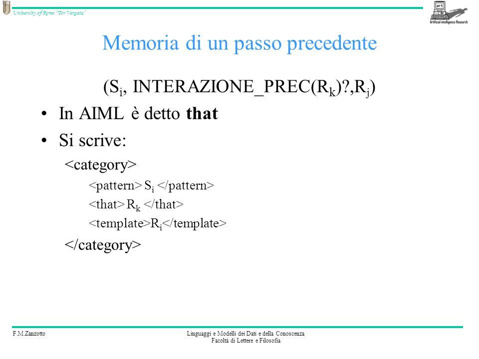 F.M.ZanzottoLinguaggi e Modelli dei Dati e della Conoscenza Facoltà di Lettere e Filosofia University of Rome Tor Vergata Esercizio 3 Codificate: (Sono., RISTIMOLA(Buongiorno Sono.)) (Salve sono., RISTIMOLA(Buongiorno Sono.)) (Ciao sono., RISTIMOLA(Buongiorno Sono.)) (Buongiorno sono., Salve, cosa vuoi sapere?) BUONGIORNO SONO * SONO SALVE SONO * SONO CIAO SONO * SONO