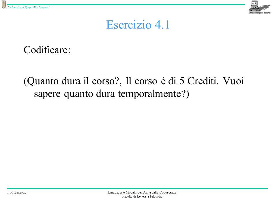 F.M.ZanzottoLinguaggi e Modelli dei Dati e della Conoscenza Facoltà di Lettere e Filosofia University of Rome Tor Vergata Esercizio 4 Codificate: (Si, INTERAZIONE_PREC(Il corso è di 5 Crediti.