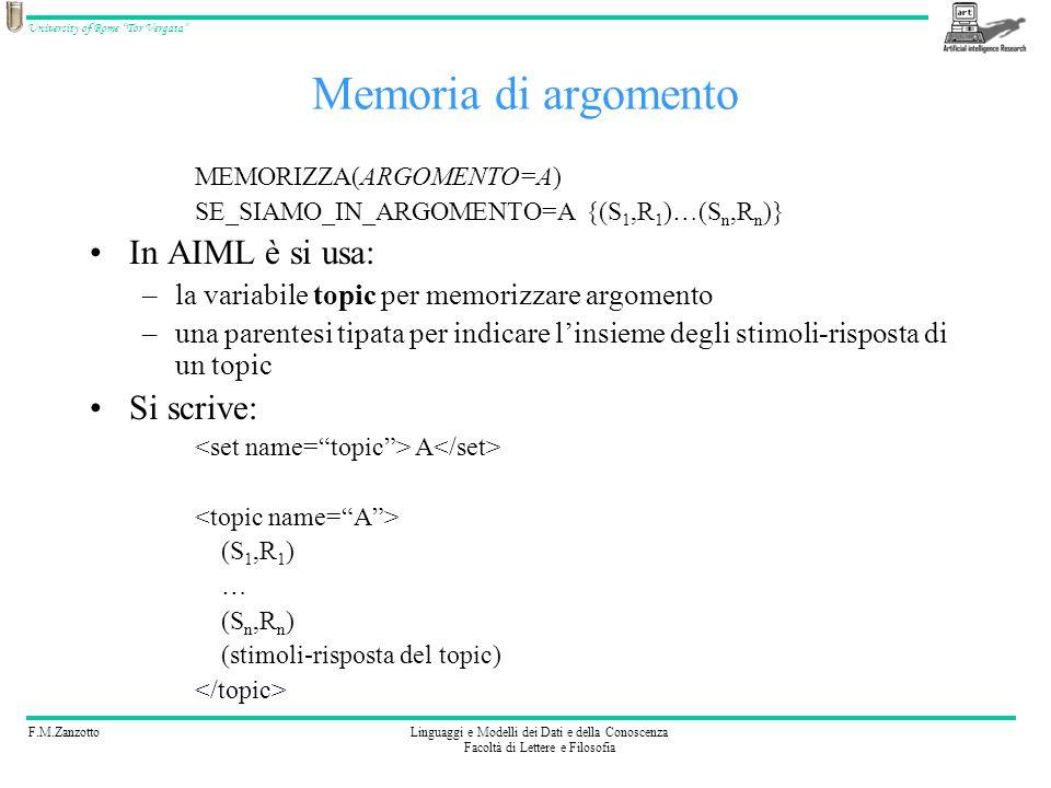 F.M.ZanzottoLinguaggi e Modelli dei Dati e della Conoscenza Facoltà di Lettere e Filosofia University of Rome Tor Vergata Esercizio 5 Codificate: (Sono, MEMORIZZA(INTERLOCUTORE= ), Salve, cosa desideri?) (Chi sono io?, Tu sei RECUPERA_VALORE(INTERLOCUTORE)) SONO * Salve, cosa desideri.
