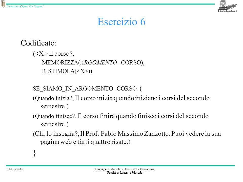 F.M.ZanzottoLinguaggi e Modelli dei Dati e della Conoscenza Facoltà di Lettere e Filosofia University of Rome Tor Vergata Memoria di argomento MEMORIZZA(ARGOMENTO=A) SE_SIAMO_IN_ARGOMENTO=A {(S 1,R 1 )…(S n,R n )} In AIML è si usa: –la variabile topic per memorizzare argomento –una parentesi tipata per indicare linsieme degli stimoli-risposta di un topic Si scrive: A (S 1,R 1 ) … (S n,R n ) (stimoli-risposta del topic)