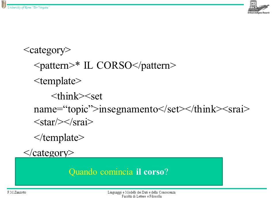 F.M.ZanzottoLinguaggi e Modelli dei Dati e della Conoscenza Facoltà di Lettere e Filosofia University of Rome Tor Vergata Esercizio 6 Codificate: ( il corso?, MEMORIZZA(ARGOMENTO=CORSO), RISTIMOLA( )) SE_SIAMO_IN_ARGOMENTO=CORSO { (Quando inizia?, Il corso inizia quando iniziano i corsi del secondo semestre.