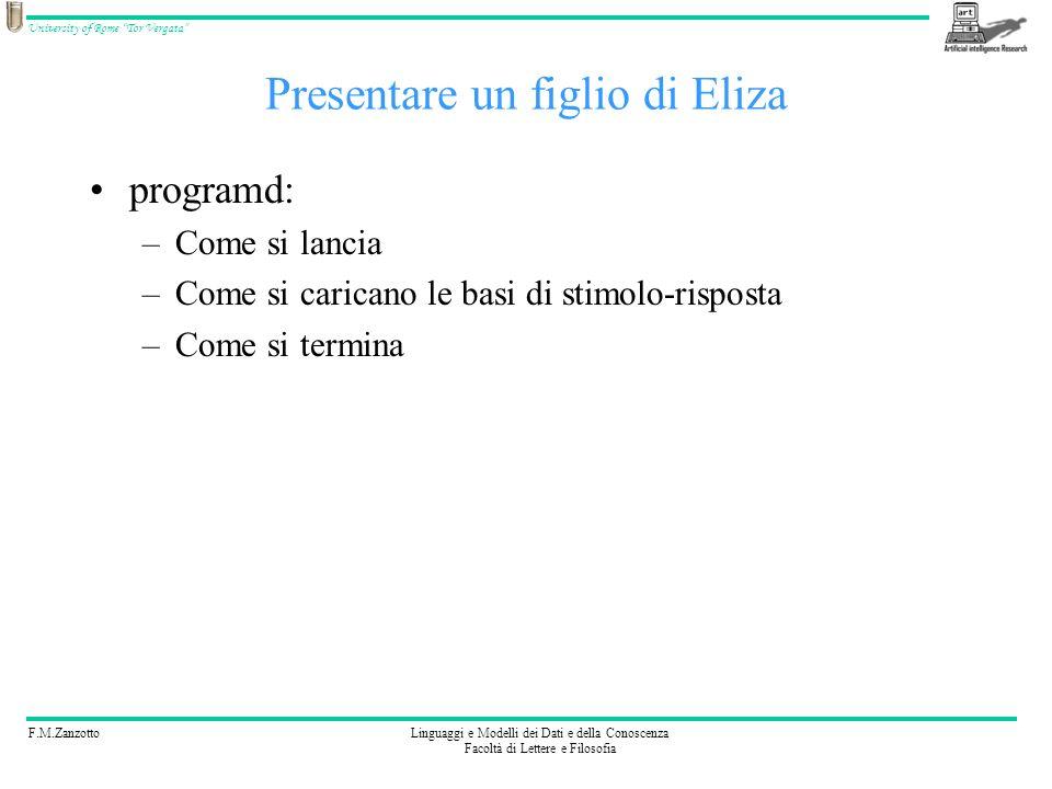 F.M.ZanzottoLinguaggi e Modelli dei Dati e della Conoscenza Facoltà di Lettere e Filosofia University of Rome Tor Vergata Ricapitoliamo AIML Scrivere (S i,R i ): coppie stimolo-risposta … … Variabile base che lega stimolo con risposta in stimolo: * in risposta: Ristimolazione: (S i,RISTIMOLA(S j )) … Memoria di un passo precedente: (S i, INTERAZIONE_PREC(R k )?,R j ) … Memoria di variabili: yyy Memoria di argomento: yyy … Altri operatori: