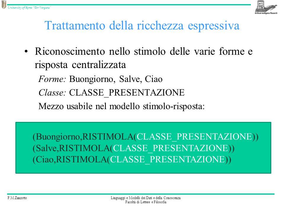 F.M.ZanzottoLinguaggi e Modelli dei Dati e della Conoscenza Facoltà di Lettere e Filosofia University of Rome Tor Vergata Trattamento della ricchezza espressiva Riconoscimento nello stimolo delle varie forme e risposta centralizzata Forme: Buongiorno, Salve, Ciao Classe: CLASSE_SALUTO Emissione di forme diverse in risposta Classe: CLASSE_SALUTO Forme: Buongiorno, Salve, Ciao Classe: RICHIESTA_NOME Forme: Come ti chiami?, Presentiamoci.