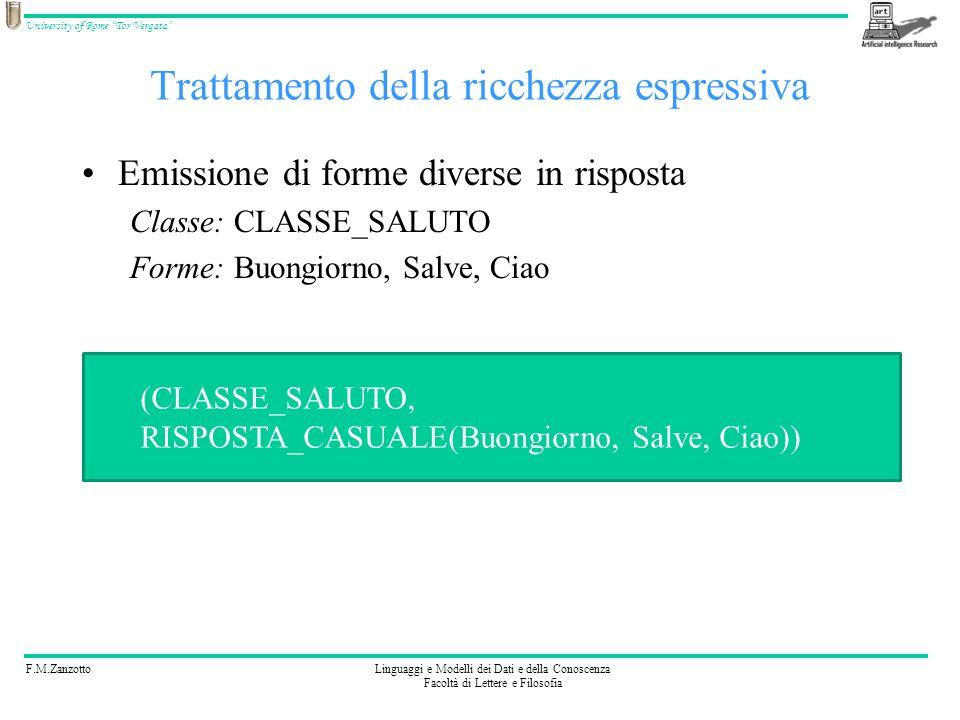 F.M.ZanzottoLinguaggi e Modelli dei Dati e della Conoscenza Facoltà di Lettere e Filosofia University of Rome Tor Vergata Trattamento della ricchezza espressiva Riconoscimento nello stimolo delle varie forme e risposta centralizzata Forme: Buongiorno, Salve, Ciao Classe: CLASSE_PRESENTAZIONE Mezzo usabile nel modello stimolo-risposta: (Buongiorno,RISTIMOLA(CLASSE_PRESENTAZIONE)) (Salve,RISTIMOLA(CLASSE_PRESENTAZIONE)) (Ciao,RISTIMOLA(CLASSE_PRESENTAZIONE))
