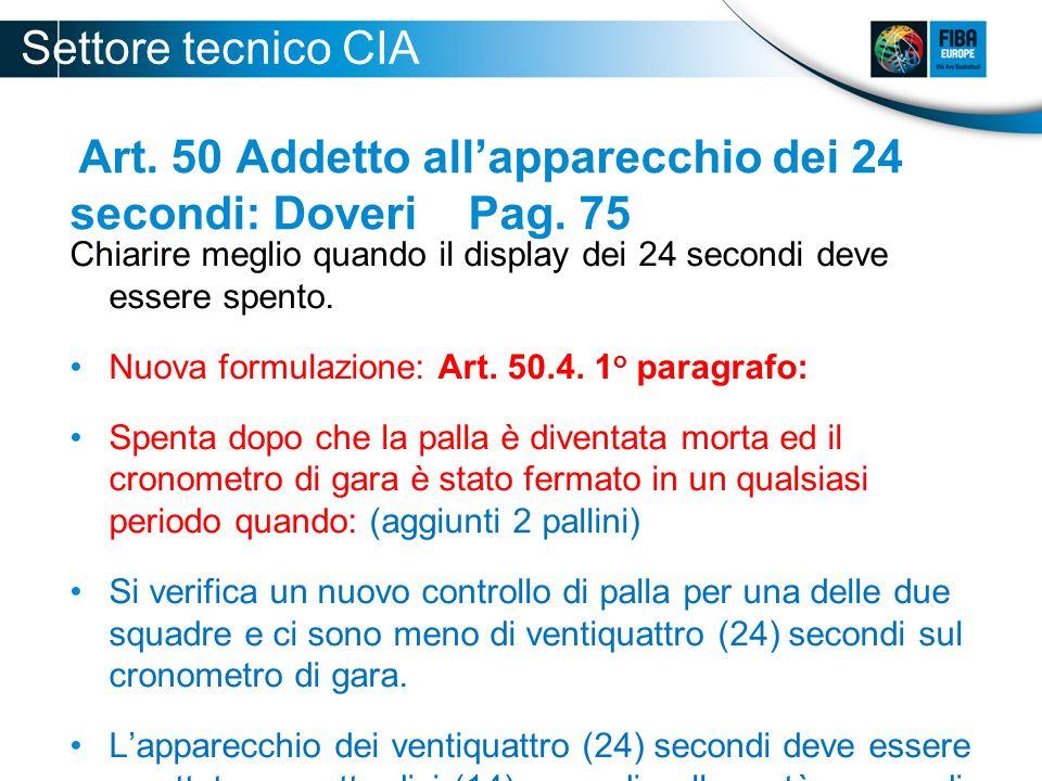 Art. 50 Addetto allapparecchio dei 24 secondi: Doveri Pag. 75 Chiarire meglio quando il display dei 24 secondi deve essere spento. Nuova formulazione:
